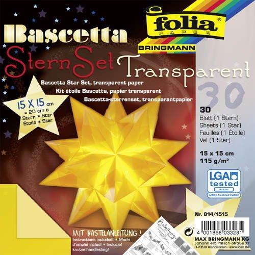 Bascetta - Kit de bricolage étoile jaune - 30 feuilles papier transparent jaune 15x15cm - diamètre étoile 20cm