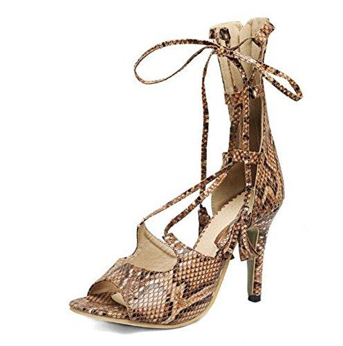 Sandali tacco alto Serpentine caricamenti del sistema freddi peep toe Legato con fiocco scarpe Khaki