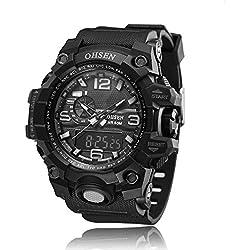 OHSEN Men's Analog Digital Sport Quartz Watch Multifunction Alarm Chronograph Day Date 50M Water Resistant Black