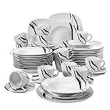 VEWEET 'Teresa' Vajilla de Porcelana 60 Piezas Juegos de vajilla Incluye 12 Tazas de café 175ml,12 platillos,12 Platos de Postre, 12 Platos de Comedor y 12 Platos de Sopa para 12 Personas