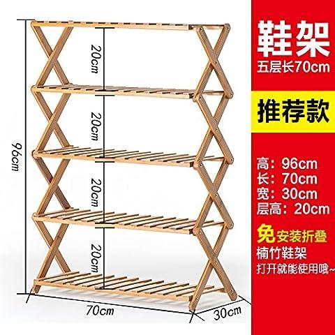 HOOM-Wooden Rack Wooden Shelf with 2-5 Shelves Tier - Shoe Shelf - Storage rack,L70cm 5Tier