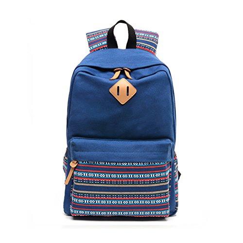 wewod haute école ou Campus Capacité Sac à dos Sac à dos pour l'école pour fille ou garçon de haute qualité avec un compartiment pour Ordinateur portable 38,1–43,2 cm Matière Toile en Style, bleu (Multicolore) - BB1243