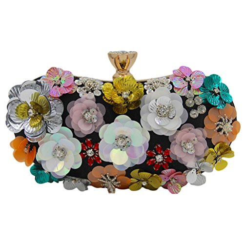 Zhhlaixing bellissime borse Flowers Beads Embroidery Evening Bags Bride Pack Handmade Ornaments Designer Handbags Gift per Donne Black