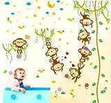 VEIERSIA Wandsticker Kinder Wandtattoo Dschungel Zoo Tier Baum Affe Zum Baby Zimmer Dekoration?152 * 168 cm? Vergleich