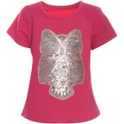 BEZLIT Kinder Mädchen Wende Pailletten T-Shirt Bluse Kurzarm Sweat Shirt 21256, Farbe:Pink;Größe:152