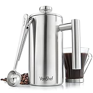 VonShef Cafetiere 6 Cup/800ml Stainless Steel Double Walled Satin Brushed Cafetiere Coffee Filter WITH Coffee Measuring Spoon and Bag Sealing Clip