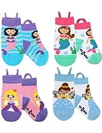 Calcetines de animales para niños, puntera sin costura, agarre antideslizante, bucles Ez pull up
