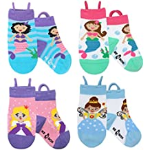 Calcetines de animales para niños, puntera sin costura, agarre antideslizante, bucles Ez pull