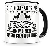 Samunshi Ich denke an meinen American Bulldog Hunde Tasse Kaffeetasse Teetasse Kaffeepott Kaffeebecher Becher