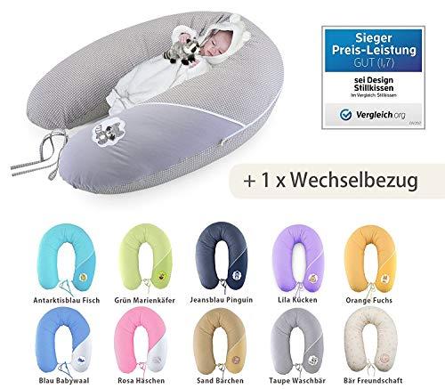Qualité bébé oreiller coussin d'allaitement de la grossesse de Sei Design XXL 190 x 30cm + 1x même une taie, remplissage constitué de boules de fibres - très doux et confortable. Couvrir avec zip et de broderie de haute qualité.