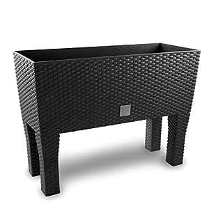 rattan optik blumenk bel blumenkasten 80 cm anthrazit. Black Bedroom Furniture Sets. Home Design Ideas