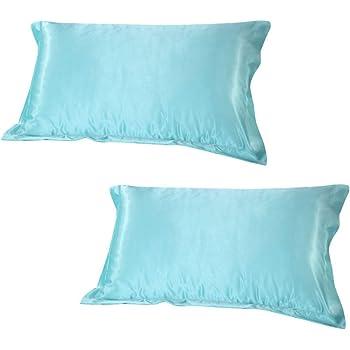 Magideal 2x Silky Soft Satin Standard Pillow Cushion Cover Pillowcase Bed Decor-Blue