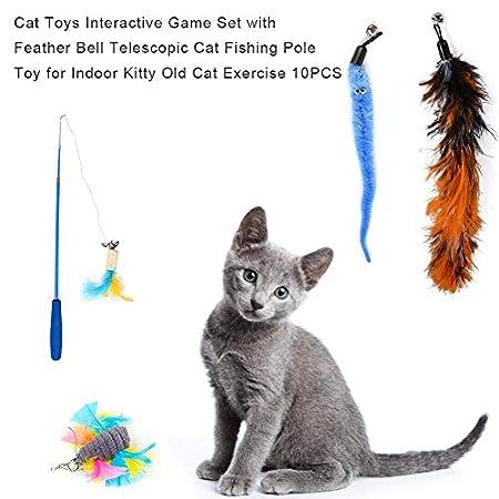 Cat-Feder-Spielzeug, Katzenspielzeug Wand Teaser Stab Spielzeug-Set Katzenspielzeug Interactive einziehbare Wand Rod mit sortiertem Feder Spielzeug Teleskop Cat Angelrute Spielzeug 10PCS jilisay