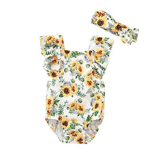 squarex Säuglingsbaby-Sleeveless Overall-Sonnenblumen-Druck-Spielanzug-Bodysuit-Kleidungs-Haarband-Sommer-Netter Overall-beiläufiger Spielanzug