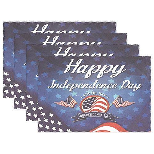 ALAZA Platzsets, 1 Stück, Happy Independence Day Celebration Grußkarte, waschbar, Tischunterlage für Küche, Esstisch, 30,5 x 45,7 cm, Polyester-Mischgewebe, Multi, 12x18 inch