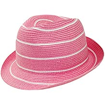 EveryHead Fiebig Damas Trilby Fedora Sombrero De Paja Gorro Papel Verano  Playa Fiesta con Blanco Rayas 59321c59048