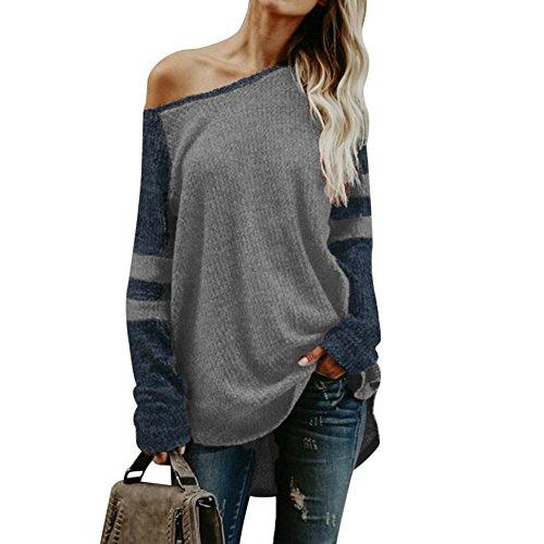 Vertvie Damen Shirt Trägerlos Schulterfrei Lose Oversize Langarm Top Sweatshirt Gestreift Pullover Oberteil Hemd (EU L/Etikettengröße XL, Grau)