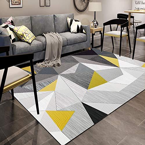 ZGYZ Nordischen Stil teppiche für Wohnzimmer, einfache gelb grau Schlafzimmer Carpet große größe hohe qualität Hause mat,C,140×200 -