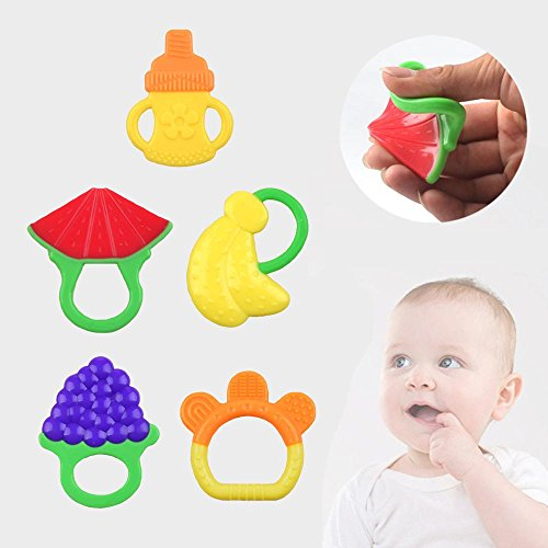 niceEshop(TM) 5 Pack Baby Fruit Teether,Soft Silcone BPA Free Baby Teething Toy 51q4SGgk6qL