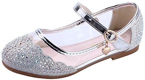 miaoshop Kinder Flache Schuhe Mary Jane Casual Slip On Ballerina Mädchen Glas Glitzer Schuhe (32/Innere Länge: 20.5cm, Silber)