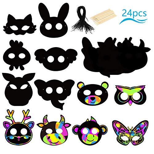 PATAZOK 24stk Tiere Kratzbilder Masken Kratzpapier Kinder Tiermasken Regenbogen Kratzmaske zum Basteln Scratch Paper Mitgebsel Bastelset Geschenk fürKindergeburtstag Party Karneval Fasching