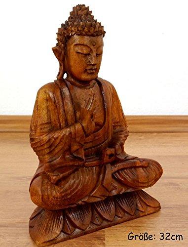 Ruheausstrahlender Buddha aus Holz, Skulptur, Buddhismus Statue, Dekofigur, Holzskulptur aus Bali (Handarbeit) (klein)