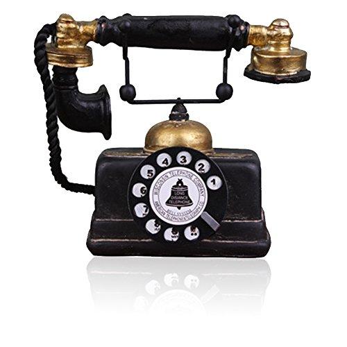 Antikes Telefon, kreatives Retro-Dekoration, Handy, Kunstharz, drehbare Telefondekoration, Dekoration für Cafés, Bars, Fenster, Dekoration, Requisiten Schwarz