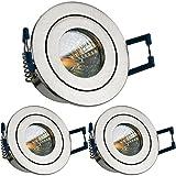 3er IP44 LED Mini Einbaustrahler Set in Silber gebürstet mit LED MR11 / GU5.3 Strahler von LEDANDO - 2W - 160lm - warmweiss - 60° Abstrahlwinkel - 20W Ersatz - Bad / Dusche - Terrassendach - Wintergarten