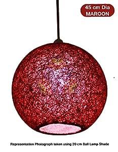 Salebrations 45 cm Dia Maroon Hanging Ball Lamp Shade With Yarn And Led Bulb