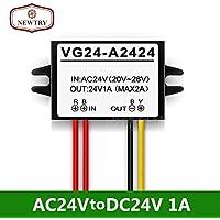 NEWTRY Flammenhemmendes Kunststoff-Gehäuse, wasserdicht, AC 24 V auf DC 24 V, 1 A, 24 W, Konverter, Spannungsregler, verstellbarer Ausgangs-Netzteil, Transformator-Adapter (Akzeptiert AC 15-28 V Eingang)