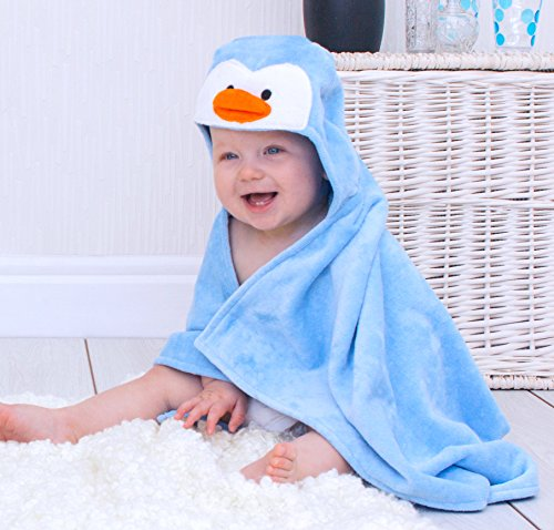 zen-Handtuch für Babys, Design: Pinguin, Himmelblau ()