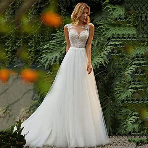 CoCogirls Prinzessin Hochzeitskleid O-Neck Appliziert Spitze Oben Tüll Rock Strand Boho...
