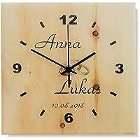 Zirbenuhr, Wanduhr aus Holz, DCF, Funkuhr, im Modern-Design - flüsterleise - mit individueller Beschriftung - das ideale Geschenk zur Hochzeit
