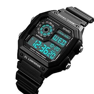 WITUSE Herren-Armbanduhr 5 ATM Digitales Chronograph Alarm