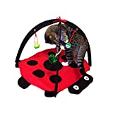 Pet Seat Cover Cat Toys For Indoor Cats Interactive Scratch Activity Funny Soft Play Mat Pet Kitten Padded Bed Blanket Cat Play Center With Hanging Toy Balls And Mice Foldable Multifunction Fashionable Super Cute Mat Fun Playing Toy Butterfly Cat Tent Crawling Pet Supplies