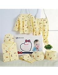 SHISHANG Caja de regalo determinada del bebé de la caja de regalo del bebé de 7 pedazos Caja de regalo recién nacida del bebé de la caja del juego del algodón del bebé conveniente para 0-3 meses Paquete del regalo de cuatro estaciones del algodón puro (100%) , snowman yellow