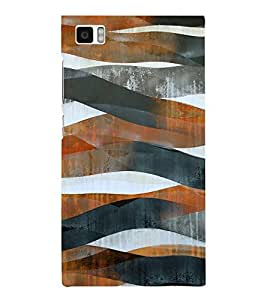 BROWN AND BLACK ARTISTIC OVERLAPPING WAVES PATTERN 3D Hard Polycarbonate Designer Back Case Cover for Xiaomi Redmi Mi3 :: Xiaomi Mi 3