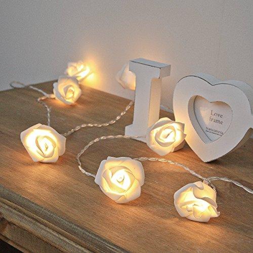 Guirlande Lumineuse 20 Roses Ivoire 20 LED Blanc Chaud 3,80 Mètres à Pile
