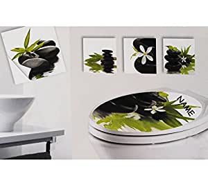 set badsticker wandtattoo fliesen sticker wc sitz aufkleber incl name wandaufkleber. Black Bedroom Furniture Sets. Home Design Ideas