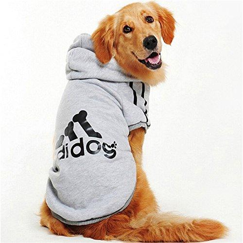 Ducomi Adidog - Sudadera con Capucha para Perros en Algodón Suave - Costuras Resistentes - Disponibles de XS a 8XL - Se envía Desde España (XS, Gris)