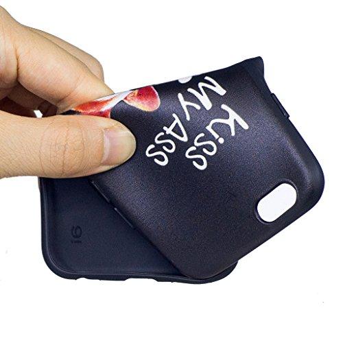 "Coque iPhone 6 / 6S , IJIA Ultra-mince Corgi Adorable Chiens (Kiss My ASS) TPU Noir Doux Silicone Bumper Case Cover Coque Housse Etui pour Apple iPhone 6 / 6S 4.7"" BF37"
