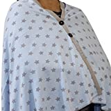 #5: Kadambaby - Blue Star Premium Nursing Cover / Breastfeeding Poncho / 100% Cotton. Stylish Nursing poncho / can be used as Stole/Scarf