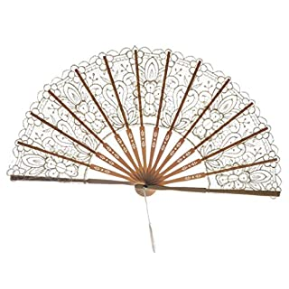 MEETEW Cotton Lace Folding Handheld Fan Embroidered Bridal Hand Fan with Bamboo Staves for Wedding Decoration Dancing Party