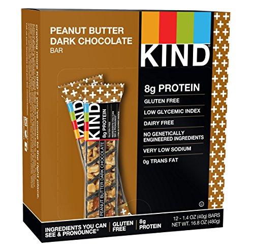 KIND PLUS, Erdnussbutter Dunkle Schokolade + Protein, Glutenfreie Riegel (12er-Pack) (Protein Plus Erdnussbutter)