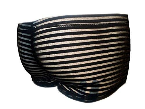 Männer Ultra Sexy See-through-Streifen-G-Strings & Thongs / Bikini / Clubwear Wäsche (Asian XL, Schwarzer Streifen Black)