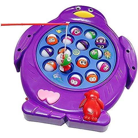 Juegos de Pesca Electrónico Musical Juguete Familia Educativo con 15 Peces para Niños Niñas 3 4 5 Años , Color al azar, Conjunto de 1