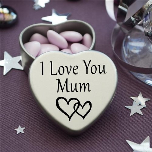Gift In Can Perfect Way To Say I Love You. Beautiful Mini Silver Heart Tin With Sweets, Special Gift Present to say I Love You. Tin size 45mm x 45mm x20mm. (I Love You Mum)