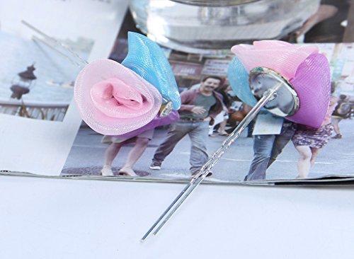 Y-BOA 3PC Épingles à Cheveux Fleur Cristal Mariage Serre-tête Tulle Barrette Pince à Cheveux (Colorful) Colorful