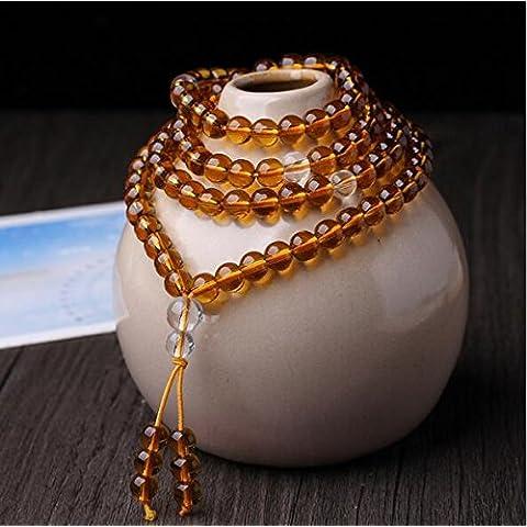 XJoel La oración 0,24 pulgadas 108 de cristal de cuarzo natural de los granos de los granos budista Mala collar de la pulsera amarilla
