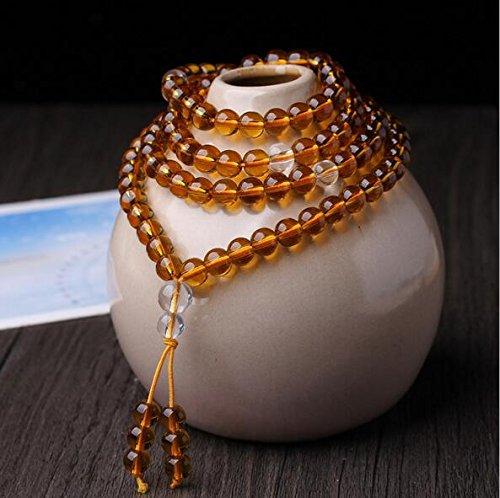 Preisvergleich Produktbild XJoel 0,24 Zoll 108 Perlen Natürliche Kristallquarz Perlen buddhistisches Gebet Mala Halsketten -Armband Gelb